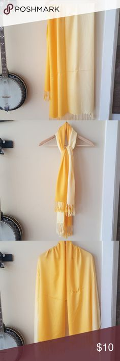 Ombre yellow pashmina Brand new yellow lightweight pashmina style scarf. Come wrapped in protective plastic packaging.These were purchased wholesale for a business that no longer sells scarves Accessories Scarves & Wraps