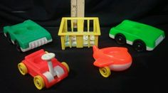 Fisher-Price Lot of 5 Vintage LITTLE PEOPLE Cars Wagon Airplane playpen toy crib #FisherPrice