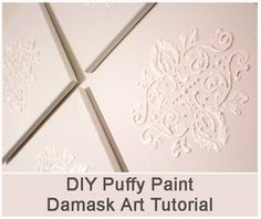 DIY Puffy Paint Damask Art Tutorial #crafts #tutorial #art