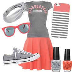 Coral & Grey by hannah-vangiller on Polyvore featuring polyvore fashion style Aéropostale QNIGIRLS Converse OPI