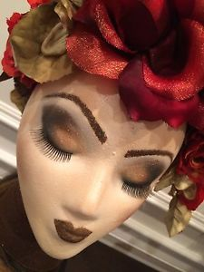 Hand Painted Styrofoam Female Head Mannequin with Floral Headdress | eBay