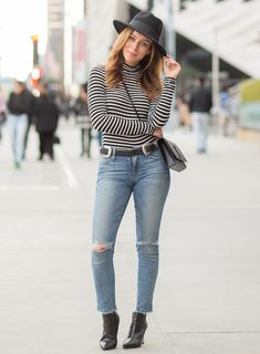 Los Angeles fashion blogger Sydne Summer street styles Day to Night in a Striped Turtleneck and Jeans. Shop the look online!