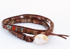 Red Jasper Bead Wrap Bracelet Choker