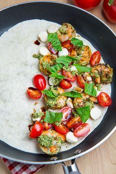 Pesto Grilled Shrimp Caprese Quesadillas