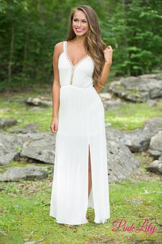You're going to love this gorgeous cream maxi! Featuring a gorgeous cream fabric, this maxi is so elegant! We also adore the golden eyelets and accents on the bodice and straps - they will simply shine on a summer night! It also features elastic in the waist, soft and slightly textured fabric, and a v-cutout in the back.