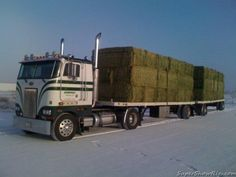 coe Peterbilt custom 362 pullin doubles loaded with hay