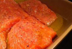 Clean eating baked salmon . I used sea salt, pepper, fresh dill, fresh lemon juice, and olive oil. Baked skin on (skin side down) for 19 minutes (the recipe calls for 25-30, which is WAY too long at 375). Will absolutely be making again.