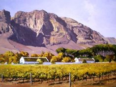 Oil Painting - Autumn at Boschendal by Ted Hoefsloot South African Artists, Art Portfolio, Oil On Canvas, Ted, Wildlife, Autumn, Fine Art, Mountains, Landscape