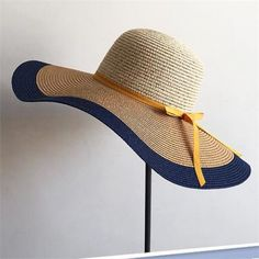 e2cd50a44ff Color block floppy straw sun hats for women UV protection wide brim beach  hat