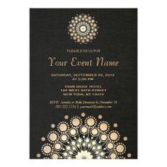 Elegant Gold Circle Motif Faux Black Linen Formal Announcements