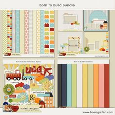 Who doesn't have a builder at home? You will sure love to scrap those colorful and fun pictures with this kit! Also available as separated paper packs, elements and alpha pack and quick pages page at Baers Garten Designs