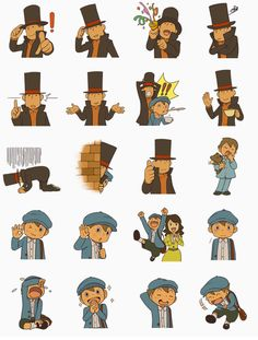 """Professor Layton stickers that comes within """"Professor Layton and the Azran Legacy"""" game. The stickers includes Professor Layton, Luke, and Emmy."""