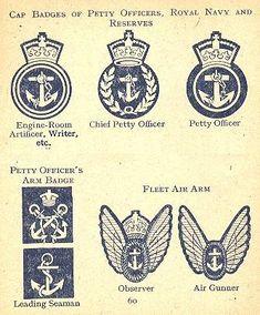Cap and arm badges, petty officers, Royal Navy in world War 2 - Life and Customs Navy Petty Officer, Navy Tattoos, Printable Tattoos, Naval History, Royal Marines, Before Us, Royal Navy, Battleship, Pin Badges