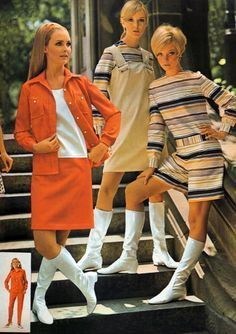Go-go boots became very popular in the early 1960's. They were often worn with mini skirts and were white. These go-go boots allowed women to look conservative, but they also allowed women to follow the short skirt trend (2 inches above the knee), without showing too much skin.