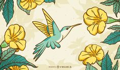 This illustrated background features a hummingbird flying to yellow flowers and leaves. Designed in soft tones.