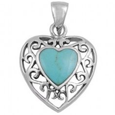 925 Sterling Silver Open Cut Romantic Floral Design Heart Turquoise Pendant NEW - geetelic - $ 29.99