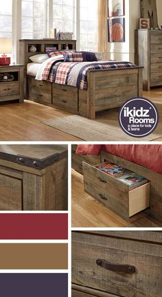 Youth and Kids Bedrooms - Beds - Bedroom Furniture - Trinell Storage Bed - iKidz Rooms
