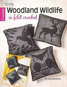 Bring the serenity of the forest into your home with the nine animal silhouettes in Woodland Wildlife in Filet Crochet. Designs include Bear, Rabbit, Deer, Elk, Fox, Hummingbird, Finches, Owl, and Squirrel. Click here to order this crochet book: http://www.maggiescrochet.com/products/woodland-wildlife-in-filet-crochet