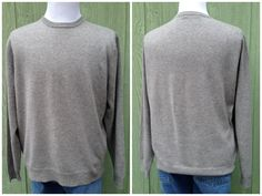 Mens Grey Cashmere Crew Neck Sweater by HiddenTreasureHunter on Etsy