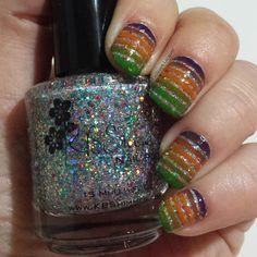 40 Great Nail Art Looks - Orange, Purple and Green