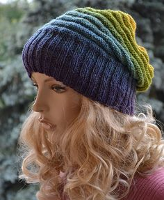 Knitted multicolor kauni lace beani cap/hat by DosiakStyle on Etsy, $25.00