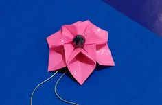 EASY Origami  flower -  necklace. 3d origami flower.  Origami fashion je...