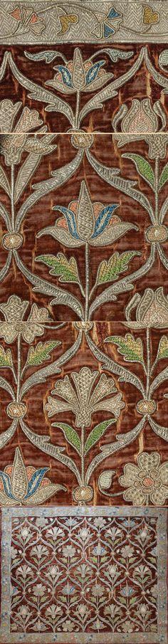 Antique Persian Textile. Silk and Silver Embroidery on Silk Velvet Safavi Dynasty 1501-1722 A.D Circa 1600