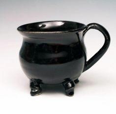 Stout Dancing Cauldron Mug in Midnight Black by BigSkyArtworks, $25.00