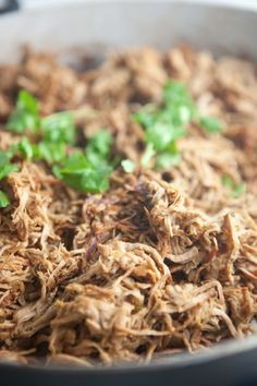 Easiest Slow Cooker Crispy Carnitas- So macro-friendly. Super low fat, high protein, and good in everything!