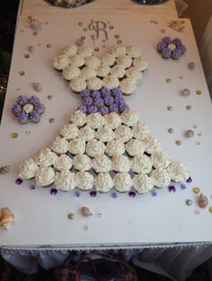cupcake wedding dress for bridal shower. using wedding color and theme! purple and beach!