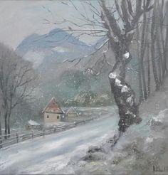 """""""Dambovicioara,Romania"""" Oil on canvas. Size 30*30cm"""