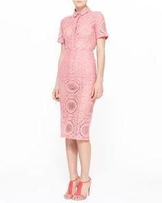 Trellis+Lace+Short-Sleeve+Shirt+and+Midi+Pencil+Skirt+by+Burberry+Prorsum+at+Bergdorf+Goodman.