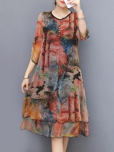 Hot-sale Vintage Floral Printed 3/4 Sleeves Fake Two Pieces Dresses{ - NewChic Mobile