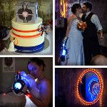 """Portal wedding! May they find they way straight into the other one.  """"Congrats to Michael & Ashley Riddle on their completion of the marriage test chamber! Photos by Andrew Dodson http://j.mp/NVjc9B, cake by Nicole Buchanan Fine Cakes http://j.mp/Qoyxnf"""""""