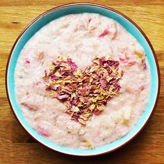 Rhubarb and rose quinoa porridge — vegan chef day