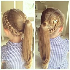 Cute Ponytail Hairstyle, with a Lace Braid and mini Hair Flower #schoolhair…