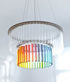 Unique Chandeliers | clear glass tableware can be used for designing a unique chandelier ...