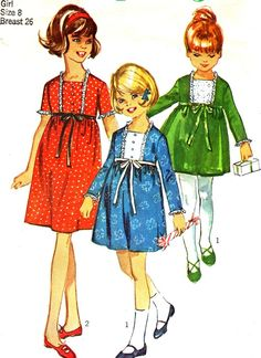 1960s Girls Dress Pattern Simplicity 6603 Girls par paneenjerez, $6.00