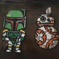Boba Fett and BB-8 - Star Wars perler beads by girlcarew
