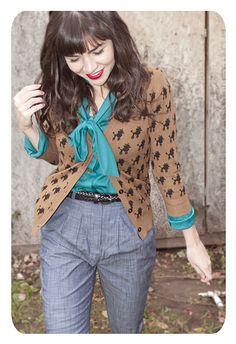 print cardi + bright blouse + menswear chic trousers + sleek skinny belt