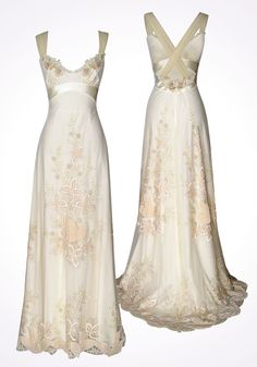 CLOISONNE  5000-7000  Continuing Collection  Ivory cotton, silk, tulle and velvet cross-back embroidered gown with beaded ribbon flowers and detachable train.