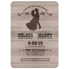 Country Western Rustic Wedding Couple Invitation