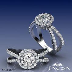 1.75ct Unique Split Shank Round Diamond Engagement Ring GIA F VS2 14k White Gold.