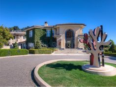 Gated Private Mansion in Tiburon, California - Expansive Driveway with Modern Art !