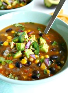 Spicy Vegan Black Bean Soup. Healthy, delicious, simple, packed with extra veggie goodness