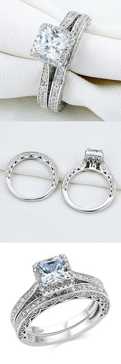 Uloveido Titanium His and Hers Engagement Wedding Bands Ring Set for Him and Her A Pair of Charm Love Forever Anniversary Rings Set for Men Women with Black Gift Bag – Fine Jewelry & Collectibles Silver Wedding Bands, Wedding Band Sets, Wedding White, Sparkle Wedding, Gold Wedding, Silver Ring, Silver Jewelry, Band Engagement Ring, Engagement Ring Settings