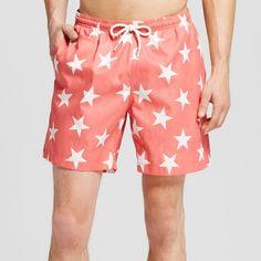 Men's Star Print Swim Trunks Coral (Pink) L - Trunks Surf & Swim