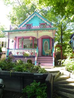 Historic Grimsby Beach, Ontario.  A small enclave of brightly painted homes.