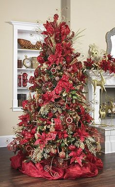 Hermoso Rojo temática árbol de Navidad: