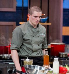 Chef Nick takes a moment to assess his appetizer at the end of the first round.